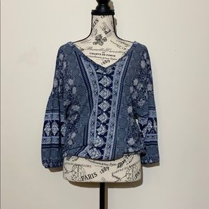 Lucky Brand Peasant Blouse Blue Size Small